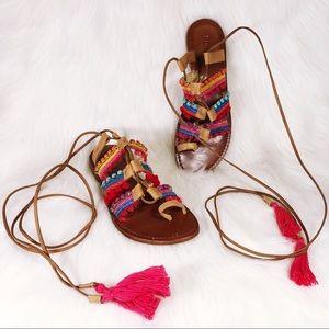 Schutz Patricia Gladiator Boho Tassel Sandals
